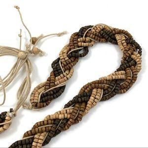 1970s wooden beaded braided belt